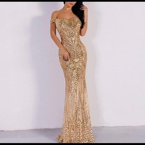 Gold Sequin Evening Gown. Fits like a size 4